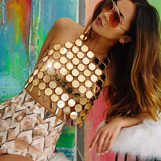 Gold Metallic Circle Halter Crop Top