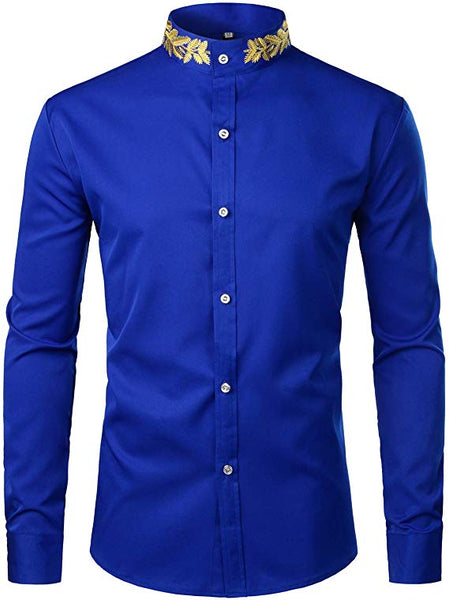 Men's Blue Embroidered Collar Long Sleeve Button Down Shirt