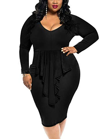 Plus Size Black Long Sleeve Ruffled V Cut Dress