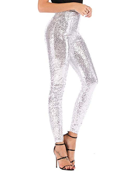 Silver Sequin Sparkle Leggings