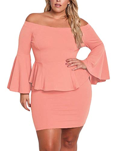 Plus Size Pink Off Shoulder Ruffled Sleeve Dress