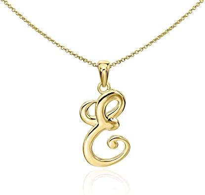 Gold Plated English Style Pendant Initial Letter Chain Necklace - E