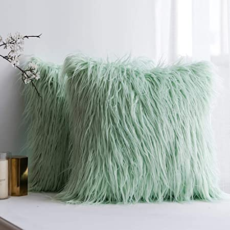 Luxury Soft Faux Fur Shaggy Sea Green Cushion Cover Pillowcase/ Pillows Covers