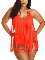 Plus Size Black Fringe Sleeveless One Piece Swimsuit