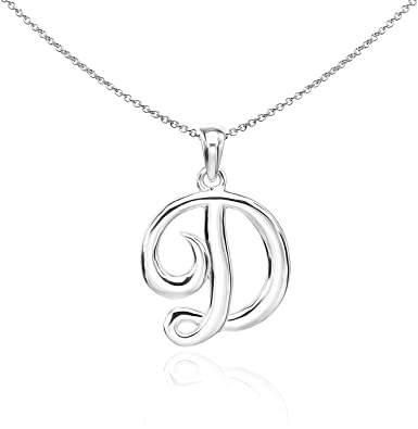 Sterling Silver English Style Pendant Initial Letter Chain Necklace - D