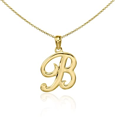 Gold Plated English Style Pendant Initial Letter Chain Necklace - B