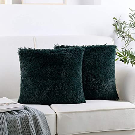 Luxury Soft Faux Fur Shaggy Hunter Green Cushion Cover Pillowcase/ Pillows Covers