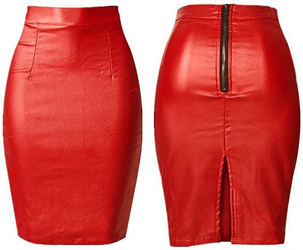 Red Faux Leather Zipper Back Pencil Skirt