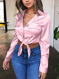 Sexy White Long Sleeve Tied Knot Button Up Blouse