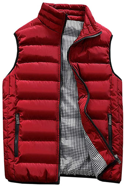 Men's Red Sleeveless Puffer Vest Coat