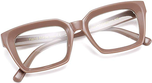 Lilac Rose Textured Vintage Style Square Clear Lens Eyeglasses