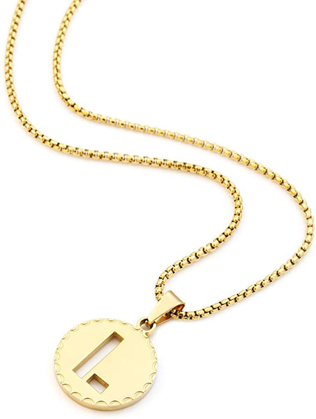 Gold Circle Pendant Initial Letter Chain Necklace