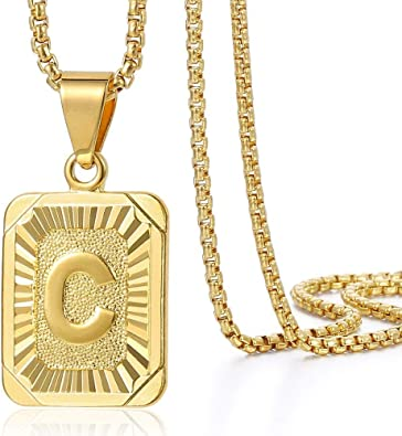 Initial Letter Pendant Yellow Gold Plated Box Chain Necklace