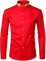 Men's Red Embroidered Collar Long Sleeve Button Down Shirt