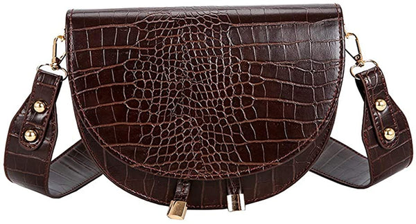 Half Moon Crocodile Coffee Brown Crossbody Wide Strap Bag