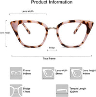 Leopard Pink Cat Eye Anti Blue Light Blocking Clear Glasses/Frames
