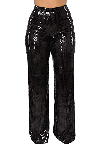 Sparking Black Sequin Wide Leg Pants