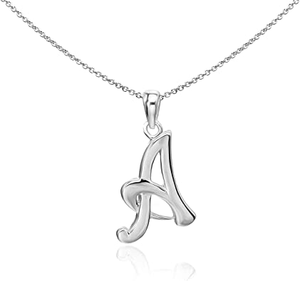 Sterling Silver English Style Pendant Initial Letter Chain Necklace - A