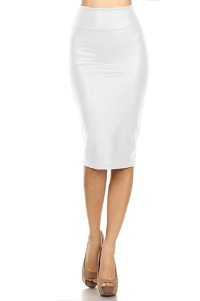 White Faux Leather High Waist Pencil Skirt