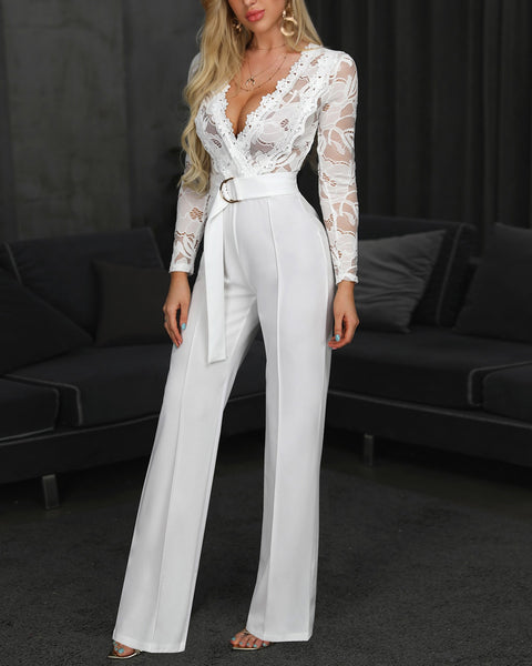 Beautiful White Lace V Cut Long Sleeve Jumpsuit