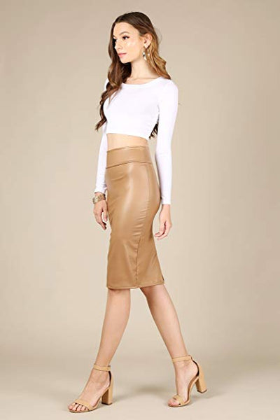 Caramel Brown Faux Leather High Waist Pencil Skirt