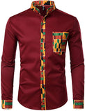 Men's Black Kente Tribal Embroidered Long Sleeve Button Down Shirt
