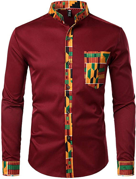 Men's Red Kente Tribal Embroidered Long Sleeve Button Down Shirt