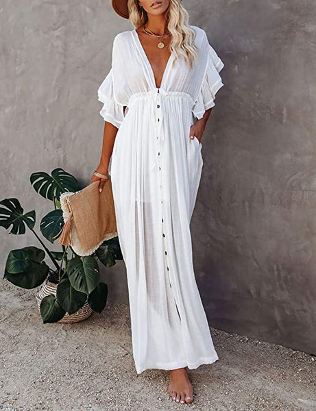 Belizean White Ruffled V Neck Maxi Cover Up Dress