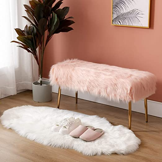 Luxury Small Pink Bench Modern Square Vanity Desk Stool