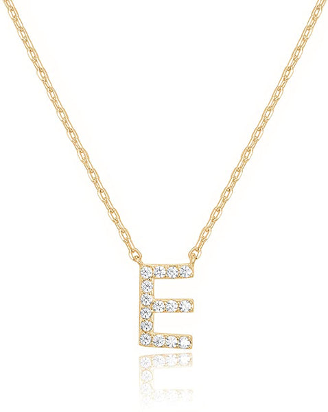 14K Gold Cubic Zarconia Pendant Initial Letter Chain Necklace - E