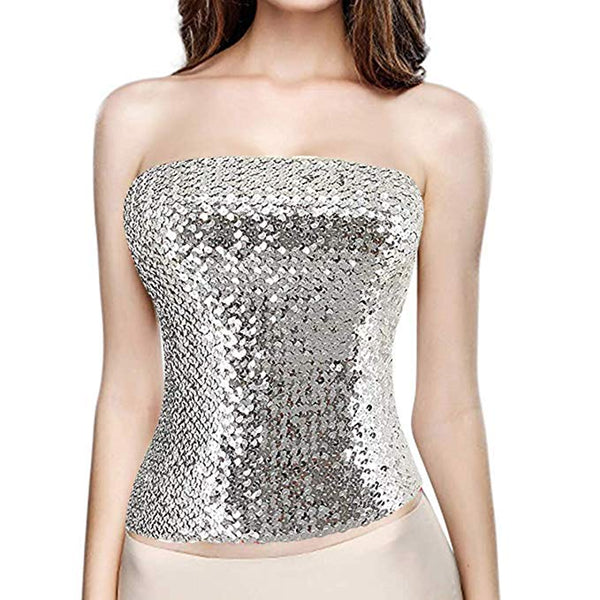 Silver Sequin Strapless Tube Top