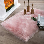 Soft Faux Sheepskin Fur Chair Couch Cover Pink Rectangle Area Rug -2 x 3 Feet