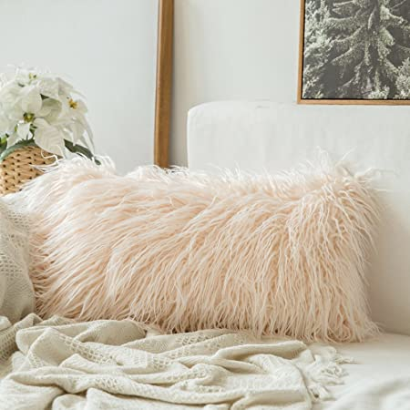 Mongolian Faux Fur Rectangular Peach Shaggy Decor Pillow