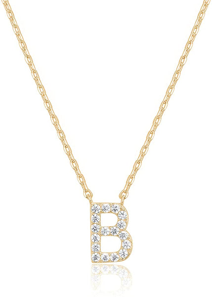 14K Gold Cubic Zarconia Pendant Initial Letter Chain Necklace - B