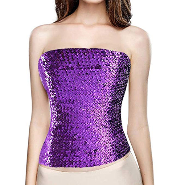 Purple Sequin Strapless Tube Top