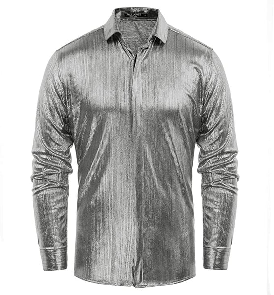 Men's Metallic Silver Long Sleeve Button Up Dress Shirt