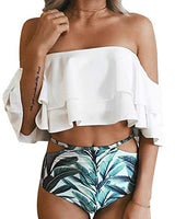 Ruffled Blue Medallion Printed High Waist 2pc Swimsuit