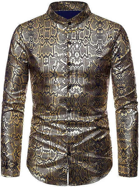 Men's Snakeskin Printed Long Sleeve Collared Button Down Shirt