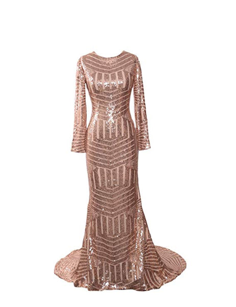 Champagne Gold Sequin Sheer Long Sleeve Striped Maxi Dress