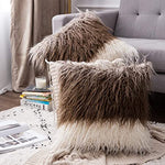 Luxury Soft Faux Fur Shaggy White/Brown Ombre Cushion Cover Pillowcase/ Pillows Covers