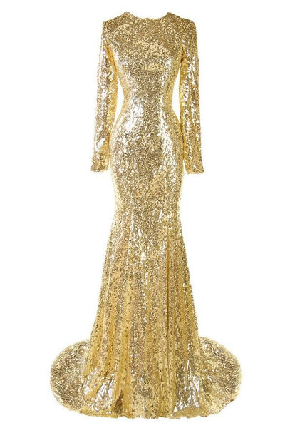 Gold Sequin Long Sleeve Mermaid Dress
