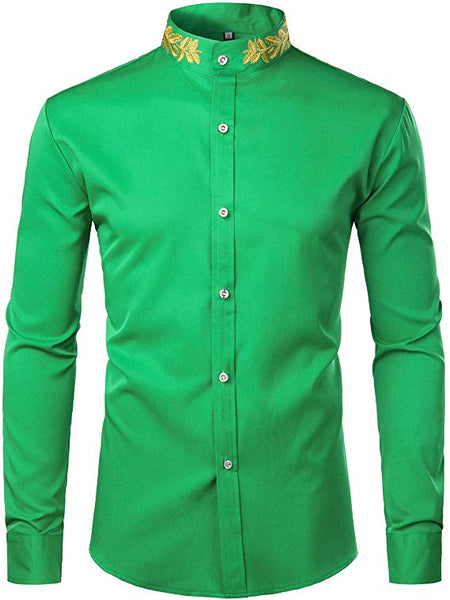 Men's Green Embroidered Collar Long Sleeve Button Down Shirt