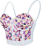 Pink & White Multi-Color Sweetheart Rhinestone Studded Bustier Corset Crop Top