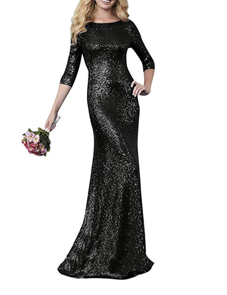 Sequined Black Long Sleeve Maxi Dress