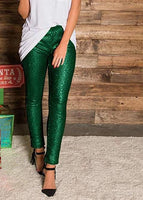 Girls Look Good Hunter Green Sequin Leggings