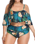 Plus Size Turquoise Green Leaves Cut Out Bikini Swimsuit