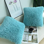 Luxury Soft Faux Fur Shaggy Turquoise Blue Cushion Cover Pillowcase/ Pillows Covers