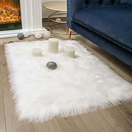 Soft Faux Sheepskin Fur Chair Couch Cover White Rectangle Area Rug -2 x 3 Feet