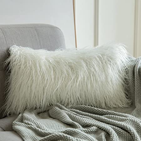 Mongolian Faux Fur Rectangular White Shaggy Decor Pillow