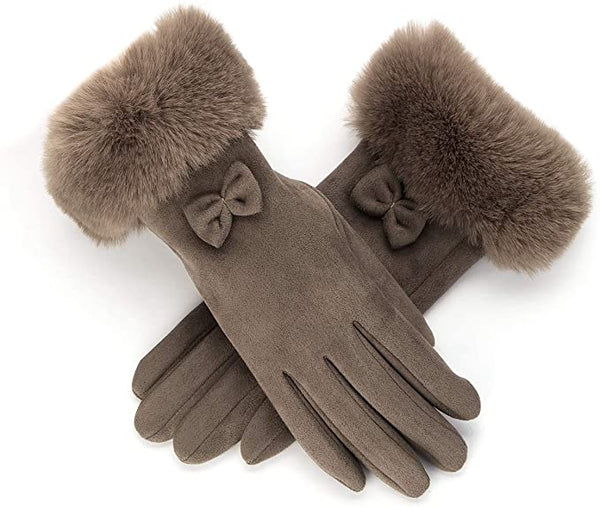 Mocha Faux Fur Bow Tie Gloves